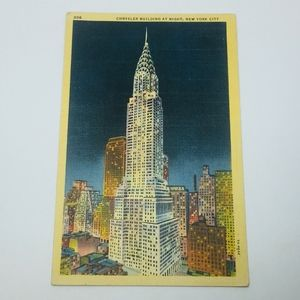 1935 Postcard Chrysler Building at Night, New York